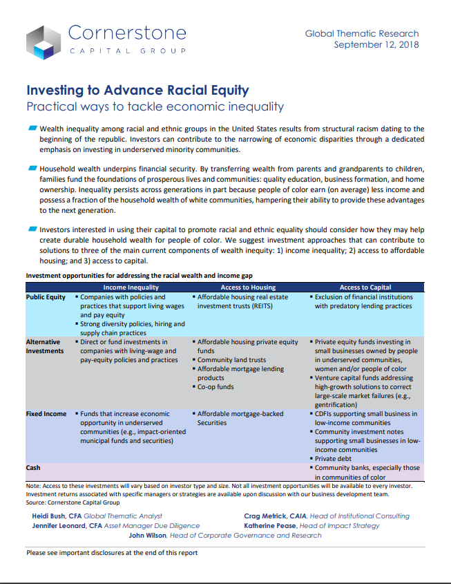 Investing to Advance Racial Equity