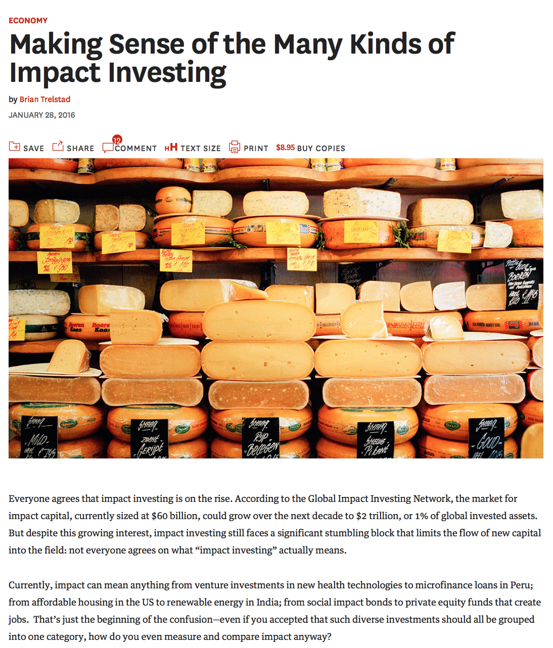 Making Sense of the Many Kinds of Impact Investing