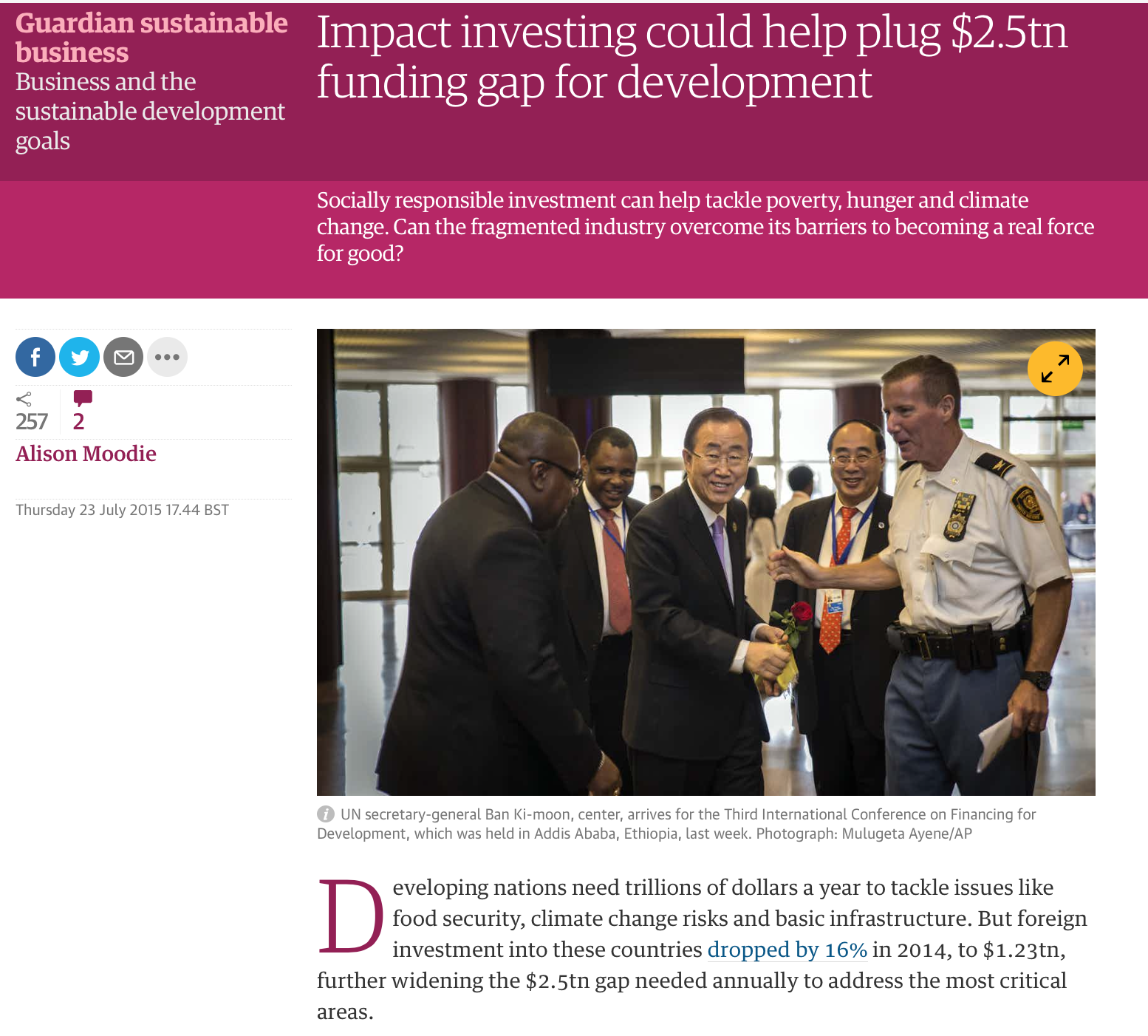 Impact Investing could help plus 2.5tn funding gap for development